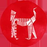 A red monkey symbol