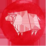A red ox symbol