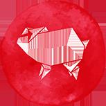 A red pig symbol
