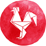 A red rooster symbol