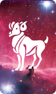 The aries zodiac sign symbol on a starry background.