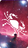 The cancer zodiac sign symbol on a starry background.