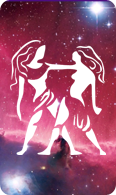 The gemini zodiac sign symbol on a starry background.