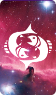 The pisces zodiac sign symbol on a starry background.