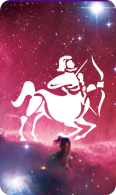 The sagittarius zodiac sign symbol on a starry background.