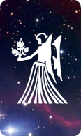 The virgo zodiac sign symbol on a starry background.
