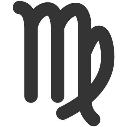 The virgo zodiac sign in black.